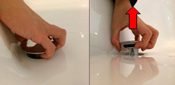 浴室の排水溝のつまりを解消:ワンプッシュ排水栓の取り外し方
