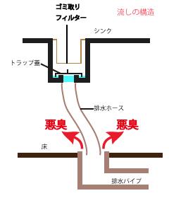 排水溝が臭う原因は?:排水口と排水管の間に隙間がある