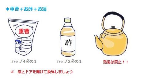 簡単な排水管洗浄方法その2:重曹とお酢をお湯を使う