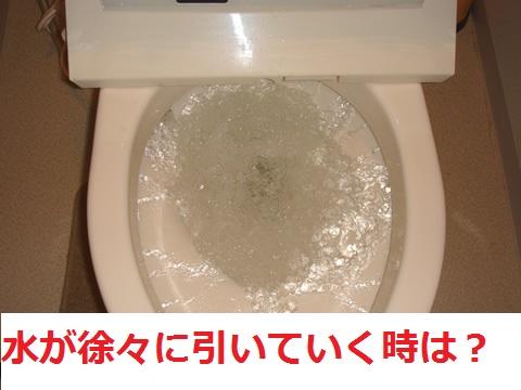 症状からつまりの原因を特定する!:水が徐々に引いて行く