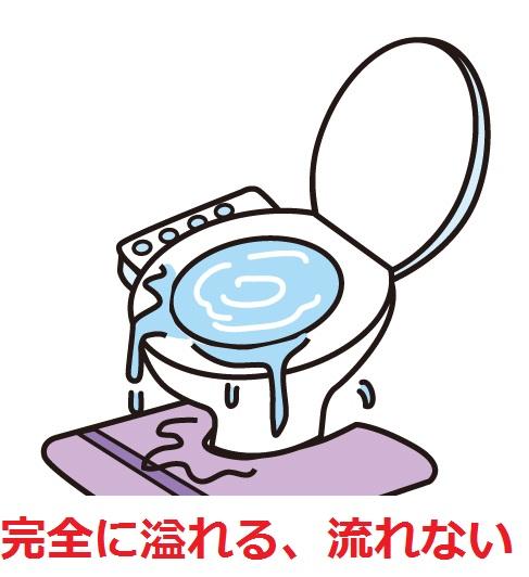 症状からつまりの原因を特定する!:完全に水が流れない、溢れるくらい便器に溜まる