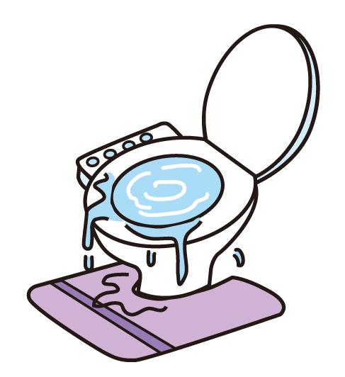 溢れるトイレの水