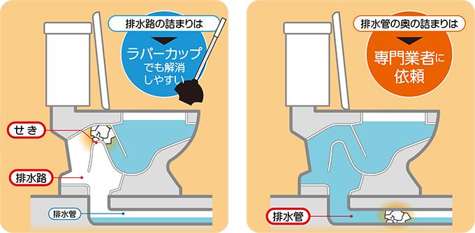 トイレのつまり、排水路・排水管