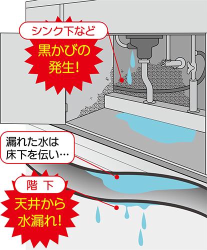 シンク下の水漏れ二次災害:黒カビ、階下へ天井から水漏れ