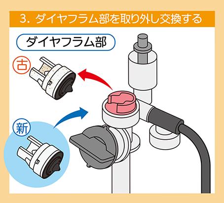 トイレのダイヤフラム交換方法:ダイヤフラムを取り外す