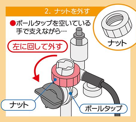 トイレのダイヤフラム交換方法:ボールタップのナットを取り外す