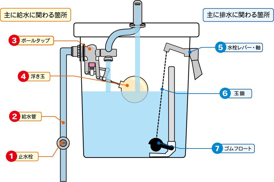 *画像:トイレタンクの透視図および、止水栓、給水管からの水が流れる全体図のイラスト